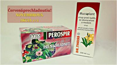 Mucoplant Sirup proti kašľu so skorocelom a medom 1x100 ml +  FYTO PEROSPIR BYLINNÝ ČAJ 20x1,5 g (30 g)