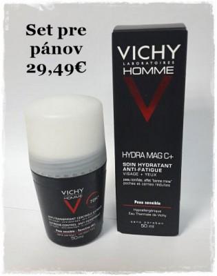 Pánsky Set: VICHY HOMME HYDRA MAG C+ posilňujúci krém pre mužov 1x50 ml + VICHY HOMME DEO ROLL-ON INT.PROTI NADM.POTENIU 50ml