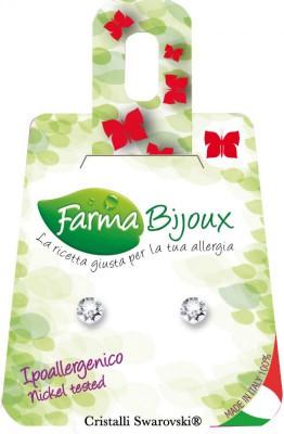 Farmabijoux hypoalergénne náušnice Biely kryštál mini