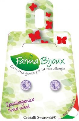Farmabijoux hypoalergénne náušnice fialový kryštál Xirius 6,2mm violet