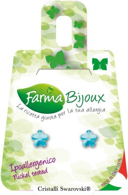 Farmabijoux hypoalergénne náušnice Flower 6mm Aquamarina