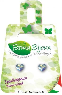 Farmabijoux hypoalergénne náušnice Flat heart Aurora Boreale