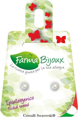 Farmabijoux hypoalergénne náušnice Flat Pearl 4mm cream