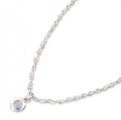 Farmabijoux hypoalergénny náhrdelník s bielym kryštálom Swarovski